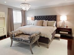 Bedroom Tufted Wing Back Headboard In Warm Master Bedroom Design Idea Plus  Zebra Pattern Bench And Beautiful Lighting Create Your Dream Room With  Gorgeous ...