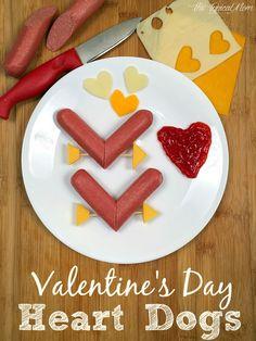 FUN Valentine's Day dinner idea for kids. Make heart dogs, so easy!