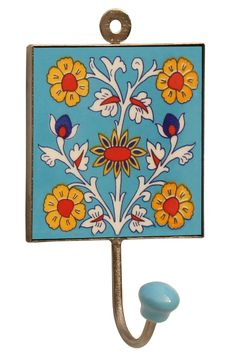 """Blue Mystics – #Handmade 6"""" Ceramic #Wall-Hook with #Colorful #Flowers in #Blue Base"""