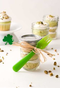 Gluten Free Pistachio Cupcakes in a Jar (Dairy Free too) great for St. Patrick's Day!