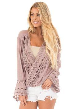 4d215a667adfdd Lime Lush Boutique - Dusty Mauve Long Sleeve Surplice Top with Crochet  Detail