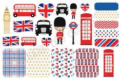 LONDON England themed stickers, red, blue and black. Perfect for vacation! Great for Erin Condren Life Planners, Filofax, Plum Planner