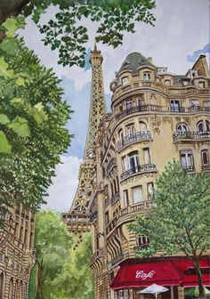One thing that makes springtime in Paris so special is being able to walk the quaint and colorful neighborhoods and also find a beautiful vista at almost every turn.  What could be better than stopping at a café on the Rue de Buenos Ayres, enjoying a café crème and also a view of the Eifel Tower? I once had just such an experience and snapped a photo as a souvenir. That photo was the inspiration for my painting of Paris in the springtime.   I have always loved the idea of walking the streets…