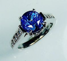 GIA Certified 18 kt White Gold 4.93 tcw Blue by SapphireRingCo, $5595.00