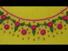 Hand Embroidery Tutorial: Neckline Design/Woven Wheel Stitch - YouTube Embroidery Neck Designs, Basic Embroidery Stitches, Hand Embroidery Videos, Hand Embroidery Tutorial, Creative Embroidery, Bead Embroidery Jewelry, Embroidery Suits, Hand Embroidery Patterns, Beaded Embroidery