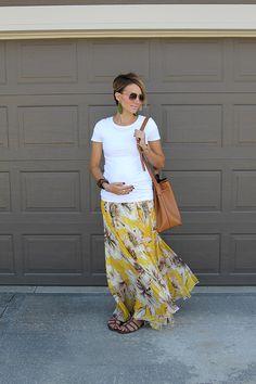 Sunday Style- White Tee and Maxi Skirt Maternity Style