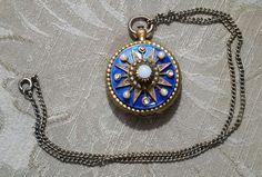 Vintage CORO Victorian Revival POCKETWATCH Photo Locket Cobalt Enameled  #Coro #Locket