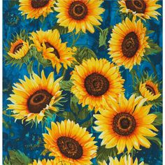 Timeless Treasures Wild Gold Sunflower Packed from @fabricdotcom  Designed by Chong-A Hwang for Timeless Treasures, this cotton print is perfect for quilting, apparel and home decor accents. Colors include black, brown, shades of blue, shades of green, red, orange and yellow.