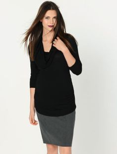 A Pea in the Pod Long Sleeve Side Ruched Maternity Sweater
