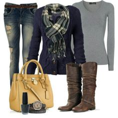What I Wore - Casual and Comfy Everyday Fall or Winter outfit Love the scarf and sweater Style Work, Mode Style, Style Blog, Simple Style, Mode Outfits, Casual Outfits, Fashion Outfits, Outfits 2014, Woman Outfits
