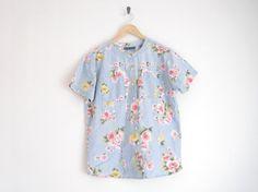 Vintage chambray blouse/floral print, $25.00
