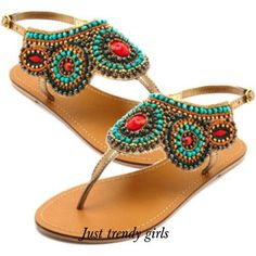 beads sandal  Flat embellished sandals http://www.justtrendygirls.com/flat-embellished-sandals/