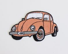 vintage Volkswagen Beetle patch/ coral iron on embroidered car patch/ vintage applique patch/ new old stock patch by PaintYourWagonShop on Etsy