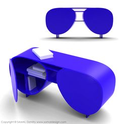 """WANT!!! """"Eyewears Library"""": Inspired by the shape of sunglasses, this desk has two closing storage spaces. It can be produced in MDF or polypropylene."""