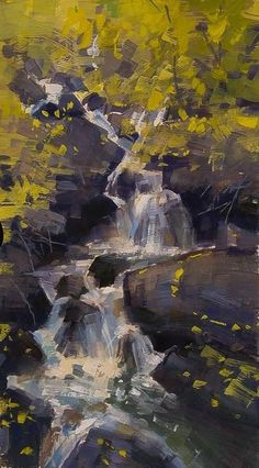 Mike Hernandez The first waterfall at Big Pines Campground North Fork in the High Sierras 6x13 gouache