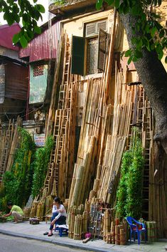 Bamboo in Hanoi -Vietnam, we stayed in the Charming 2 Hotel to the right of the bamboo vendor.  Great hotel, great location in the Old Quarter