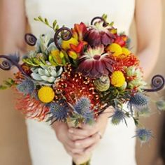 Love the colors and quirkiness of this bouquet