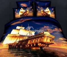 New Arrival 100% Cotton Great Fan of the Ship Voyage 4 Piece Bedding Sets/Duvet Cover Sets