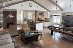 traditional living room decor Old Bungalow in California Gets Contemporary Makeover Keeps Rustic Feel