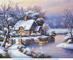 art picture Picture - More Detailed Picture about Home Decor DIY Diamond Painting Snow Cottage Full Diamond Embroidery Mosaic Pictures of Rhinestones Winter Landscape Wall Art Picture in Diamond Painting Cross Stitch from REDIY LADIY Store Old Cottage, Cottage Art, Winter Pictures, Christmas Pictures, Christmas Scenes, Christmas Art, Belle Image Nature, Kinkade Paintings, Winter Szenen