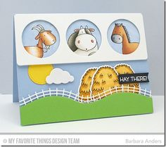 It's time for a new Sweet Sunday Sketch Challenge! We have a fun sketch for you this week with a t. Making Greeting Cards, Greeting Cards Handmade, Kids Cards, Baby Cards, Horse Cards, Sweet Sundays, Birthday Cards For Boys, Mft Stamps, Animal Cards
