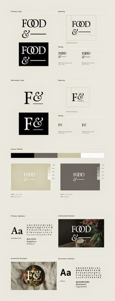 Food& identity development designed and co-founded by Passport / interlocking type, black and white
