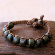Rustic Vintage Green Serpentine Beaded Macrame Bracelet Woven Linen