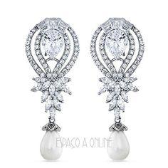 439963062a1 Brinco Em Prata 925 Com Perolas e cravação de micro zirconias  acessorios   joias…
