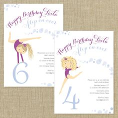 Printable Personalized Invitation- Gymnastics Party