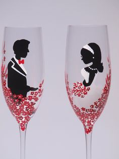 Hand painted Wedding Toasting Flutes Set of 2 Personalized Champagne glasses Red Black and White - Red passion flowers. $49.00, via Etsy.