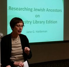"Genealogist Jane G. Haldeman speaks on ""Researching Jewish Ancestors on Ancestry Library Edition"" at the Sunday, Feb. 18, 2018, meeting of the Jewish Genealogical Society of Illinois."