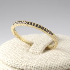Thin Black Diamond Eternity Band 14K Solid Gold by goldengesture