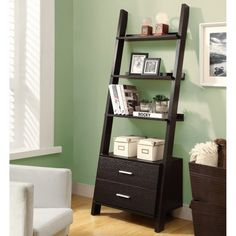 Furniture : Fabulous Ladder Bookshelf Design By Monarch Come With Four Tier Bookcase With Two Drawers Is Both Convenient And Edgy Plus Cappuccino Finish Also Solid Wood Material Ladder Bookshelf And White Picture Wall - 19 Ladder Bookshelf for your Inspirations