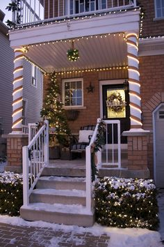 Porch decorated at Christmas