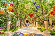 Outside in: As you step into the  Wynn Hotel, Las Vegas, you encounter a glass ceiling atrium filled with multicoloured flowers and plants