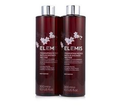 235373 - Elemis Shower Nectar Duo 300ml QVC PRICE: £35.00 + P&P: £4.95 In your choice of fragrant, aromatic formulation, discover the pampering Bath & Shower Nectar from Elemis. Available in a great duo, add a touch of luxury to your evening ritual with this fabulous Elemis treat.