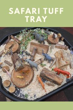 Creating a safari tuff tray for children to develop their imagination. Creating a safari tuff tray for children to develop their imagination. Childcare Activities, Nursery Activities, Sensory Activities, Toddler Activities, Toddler Crafts, Toddler Games, Indoor Activities, Family Activities, Sensory Table