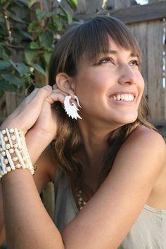 Nava WingsOrganic Bone Earrings by TribalStyle on Etsy, $28.00