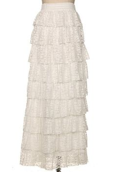 From our beautiful boutique selection: the Lace Ruffle Maxi Skirt in White | Modest fashion, bridesmaid styles, ruffles, lace www.daintyjewells.com