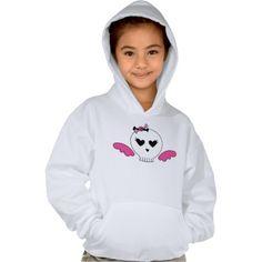 Girly Skull With Pink Wings Kids Hooded Sweatshirt