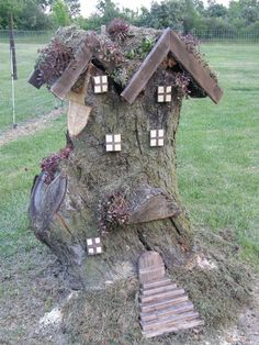 The newest creation in the backyard. My husband helped me create a 'Gnome Home' from the old apple tree stump. Update: July 2016 Unfortunately, I didn't know that old wood and stumps entice termites to your yard. So we had to tear down and burn our little gnome home. But truly enjoyed it while it lasted.