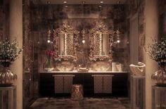 Side by side sinks go glam with intricate mirrors and reflective walls.