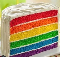 """Full-spectrum """"fabulous"""" is the order of the day when you serve this treat at a kid's birthday or half birthday celebration. The colorful cake is a snap to pull together with Betty Crocker™ SuperMoist® vanilla cake mix and gel food coloring. Purple Cakes, Red Cake, Food Cakes, Layer Cake Recipes, Dessert Recipes, Dessert Ideas, Rainbow Layer Cakes, Cake Rainbow, Rainbow Food"""