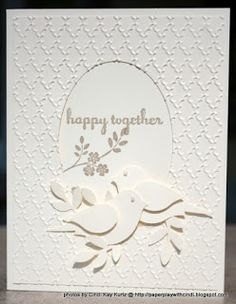 handmade wedding/anniveraru card from Paper Play with Cindi ... almost all white ... pair of bird punch birds ... textured panel with oval porthole for the sentiement ... Stampin' Up!