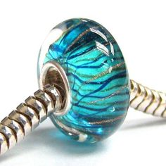 Amazon.com: Queenberry Sterling Silver Murano Stripe Wave Blue Gold Glass Bead For Pandora Troll Chamilia Biagi European Charm Bracelets: Je...