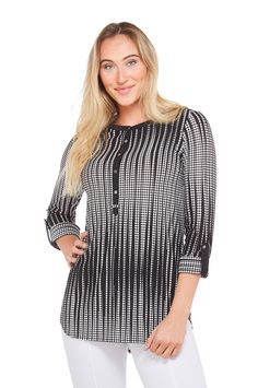 c4bda50bf9432f Abstract Dot Print Henley Tunic