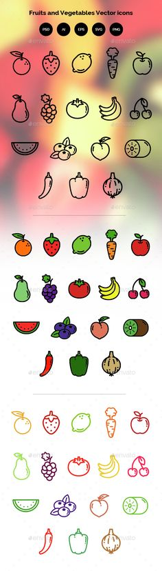 Fruits and Vegetables — Photoshop PSD #fruits #icon • Available here → https://graphicriver.net/item/fruits-and-vegetables/14675136?ref=pxcr