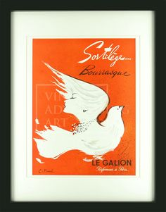 Le Galion Bourrasque Perfume Ad, Vintage Perfume, Dove Flying, Orange Background, Ad Art, Red Color, Colour, Optical Illusions, Vintage Advertisements