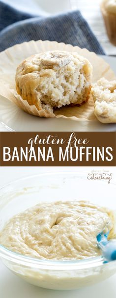 Moist and tender gluten free banana muffins in the classic style, made with…