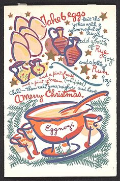 Citation: Illustrated recipe for eggnog, 19-- . Peter Hunt papers, Archives of American Art, Smithsonian Institution.